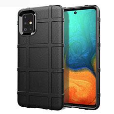 Samsung Galaxy A71 5G用360度 フルカバー極薄ソフトケース シリコンケース 耐衝撃 全面保護 バンパー サムスン ブラック