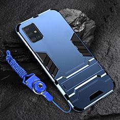 Samsung Galaxy A71 5G用ハイブリットバンパーケース スタンド プラスチック 兼シリコーン カバー サムスン ネイビー