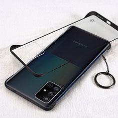 Samsung Galaxy A71 5G用ハードカバー クリスタル クリア透明 H01 サムスン ブラック