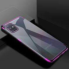 Samsung Galaxy A71 5G用極薄ソフトケース シリコンケース 耐衝撃 全面保護 クリア透明 H01 サムスン パープル