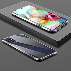 Samsung Galaxy A71 5G用ケース 高級感 手触り良い アルミメタル 製の金属製 360度 フルカバーバンパー 鏡面 カバー サムスン ブラック