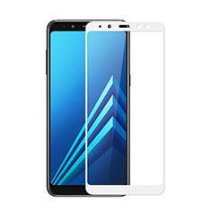 Samsung Galaxy A8 (2018) A530F用強化ガラス フル液晶保護フィルム サムスン ホワイト