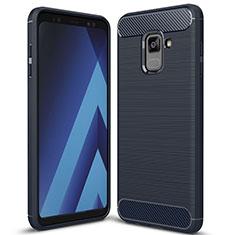 Samsung Galaxy A8+ A8 Plus (2018) A730F用シリコンケース ソフトタッチラバー ツイル カバー サムスン ネイビー