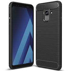 Samsung Galaxy A8+ A8 Plus (2018) A730F用シリコンケース ソフトタッチラバー ツイル カバー サムスン ブラック