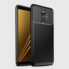 Samsung Galaxy A8+ A8 Plus (2018) A730F用シリコンケース ソフトタッチラバー ツイル カバー S01 サムスン ブラック