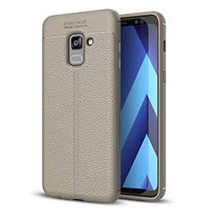 Samsung Galaxy A8+ A8 Plus (2018) A730F用シリコンケース ソフトタッチラバー レザー柄 サムスン グレー