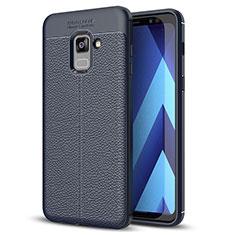 Samsung Galaxy A8+ A8 Plus (2018) A730F用シリコンケース ソフトタッチラバー レザー柄 サムスン ネイビー