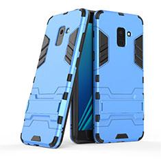 Samsung Galaxy A8+ A8 Plus (2018) A730F用ハイブリットバンパーケース スタンド プラスチック 兼シリコーン サムスン ネイビー
