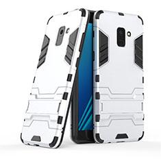 Samsung Galaxy A8+ A8 Plus (2018) A730F用ハイブリットバンパーケース スタンド プラスチック 兼シリコーン サムスン ホワイト