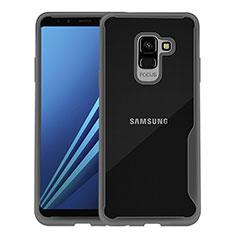 Samsung Galaxy A8+ A8 Plus (2018) A730F用バンパーケース クリア透明 サムスン ブラック