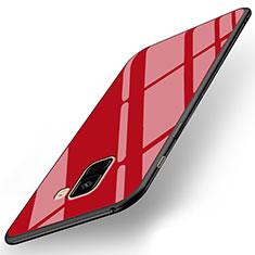 Samsung Galaxy A8+ A8 Plus (2018) A730F用シリコンケース ソフトタッチラバー 鏡面 サムスン レッド
