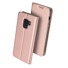 Samsung Galaxy A8+ A8 Plus (2018) A730F用手帳型 レザーケース スタンド サムスン ローズゴールド