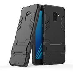 Samsung Galaxy A8+ A8 Plus (2018) Duos A730F用ハイブリットバンパーケース スタンド プラスチック 兼シリコーン サムスン ブラック