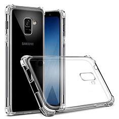 Samsung Galaxy A8+ A8 Plus (2018) Duos A730F用極薄ソフトケース シリコンケース 耐衝撃 全面保護 クリア透明 T03 サムスン クリア