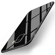 Samsung Galaxy A8+ A8 Plus (2018) Duos A730F用シリコンケース ソフトタッチラバー 鏡面 サムスン ブラック