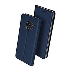 Samsung Galaxy A8+ A8 Plus (2018) Duos A730F用手帳型 レザーケース スタンド サムスン ネイビー
