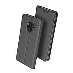 Samsung Galaxy A8+ A8 Plus (2018) Duos A730F用手帳型 レザーケース スタンド サムスン ブラック