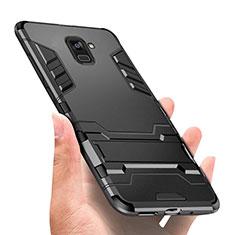 Samsung Galaxy A8+ A8 Plus (2018) Duos A730F用ハイブリットバンパーケース スタンド プラスチック 兼シリコーン W01 サムスン ブラック