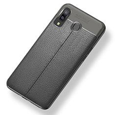 Samsung Galaxy A8 Star用シリコンケース ソフトタッチラバー レザー柄 サムスン グレー