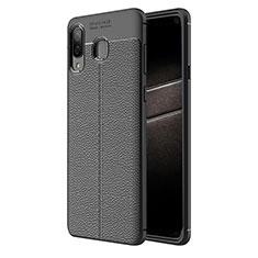 Samsung Galaxy A8 Star用シリコンケース ソフトタッチラバー レザー柄 サムスン ブラック