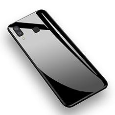 Samsung Galaxy A8 Star用シリコンケース ソフトタッチラバー 鏡面 M01 サムスン ブラック