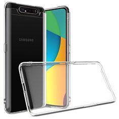 Samsung Galaxy A80用極薄ソフトケース シリコンケース 耐衝撃 全面保護 クリア透明 T03 サムスン クリア