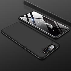 Samsung Galaxy A80用ハードケース プラスチック 質感もマット 前面と背面 360度 フルカバー サムスン ブラック