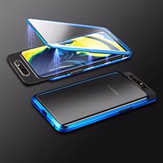 Samsung Galaxy A80用ケース 高級感 手触り良い アルミメタル 製の金属製 360度 フルカバーバンパー 鏡面 カバー M01 サムスン ネイビー
