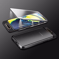 Samsung Galaxy A80用ケース 高級感 手触り良い アルミメタル 製の金属製 360度 フルカバーバンパー 鏡面 カバー M01 サムスン ブラック