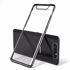 Samsung Galaxy A80用ハードカバー クリスタル クリア透明 H01 サムスン ブラック