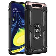 Samsung Galaxy A80用ハイブリットバンパーケース プラスチック アンド指輪 マグネット式 サムスン ブラック