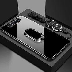 Samsung Galaxy A80用ハイブリットバンパーケース プラスチック 鏡面 カバー アンド指輪 マグネット式 T01 サムスン ブラック