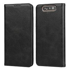 Samsung Galaxy A80用手帳型 レザーケース スタンド カバー T08 サムスン ブラック