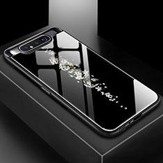 Samsung Galaxy A80用ハイブリットバンパーケース プラスチック パターン 鏡面 カバー S01 サムスン ブラック