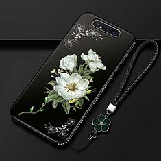 Samsung Galaxy A80用シリコンケース ソフトタッチラバー 花 カバー S06 サムスン ブラック
