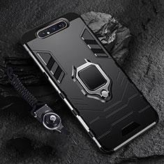 Samsung Galaxy A80用ハイブリットバンパーケース プラスチック アンド指輪 マグネット式 R01 サムスン ブラック