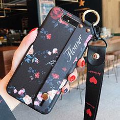 Samsung Galaxy A80用シリコンケース ソフトタッチラバー 花 カバー S07 サムスン ブラック