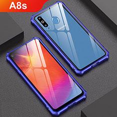 Samsung Galaxy A8s SM-G8870用ケース 高級感 手触り良い アルミメタル 製の金属製 バンパー 鏡面 カバー サムスン ネイビー