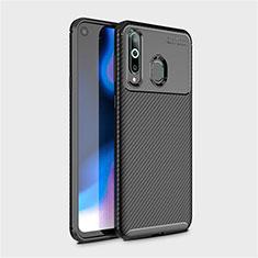 Samsung Galaxy A8s SM-G8870用シリコンケース ソフトタッチラバー ツイル カバー サムスン ブラック
