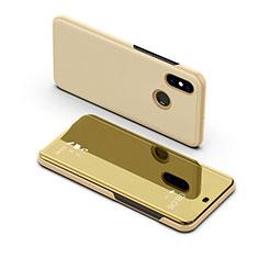 Samsung Galaxy A8s SM-G8870用手帳型 レザーケース スタンド カバー 鏡面 カバー サムスン ゴールド