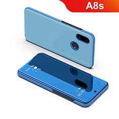 Samsung Galaxy A8s SM-G8870用手帳型 レザーケース スタンド カバー 鏡面 カバー サムスン ネイビー