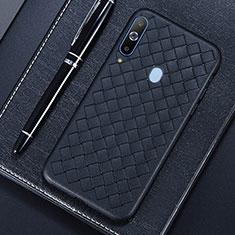 Samsung Galaxy A8s SM-G8870用シリコンケース ソフトタッチラバー レザー柄 サムスン ブラック