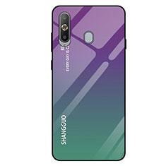 Samsung Galaxy A8s SM-G8870用ハイブリットバンパーケース プラスチック 鏡面 虹 グラデーション 勾配色 カバー サムスン グリーン
