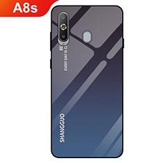 Samsung Galaxy A8s SM-G8870用ハイブリットバンパーケース プラスチック 鏡面 虹 グラデーション 勾配色 カバー サムスン ブラック