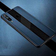 Samsung Galaxy A8s SM-G8870用シリコンケース ソフトタッチラバー レザー柄 S01 サムスン ネイビー