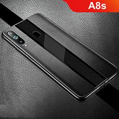 Samsung Galaxy A8s SM-G8870用シリコンケース ソフトタッチラバー レザー柄 S01 サムスン ブラック