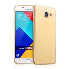 Samsung Galaxy A9 Pro (2016) SM-A9100用極薄ソフトケース シリコンケース 耐衝撃 全面保護 クリア透明 サムスン ゴールド