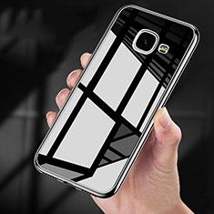 Samsung Galaxy A9 Pro (2016) SM-A9100用360度 フルカバーハイブリットバンパーケース クリア透明 プラスチック 鏡面 サムスン ブラック