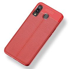 Samsung Galaxy A9 Star SM-G8850用シリコンケース ソフトタッチラバー レザー柄 サムスン レッド