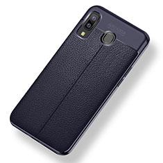 Samsung Galaxy A9 Star SM-G8850用シリコンケース ソフトタッチラバー レザー柄 サムスン ネイビー